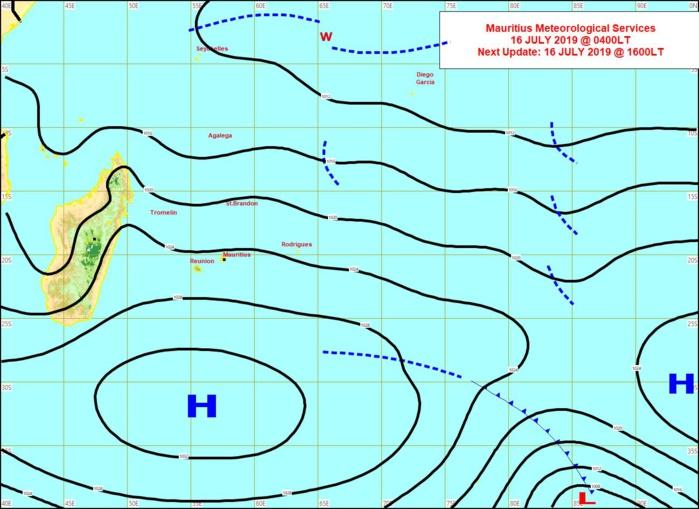 L'anticyclone(H) de 1035hpa est solidement positionné au Sud des Mascareignes. MMS