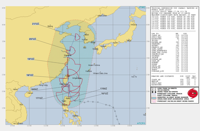 WARNING 2/JTWC. PEAK INTENSITY OF 45KNOTS IS FORECAST IN 72H