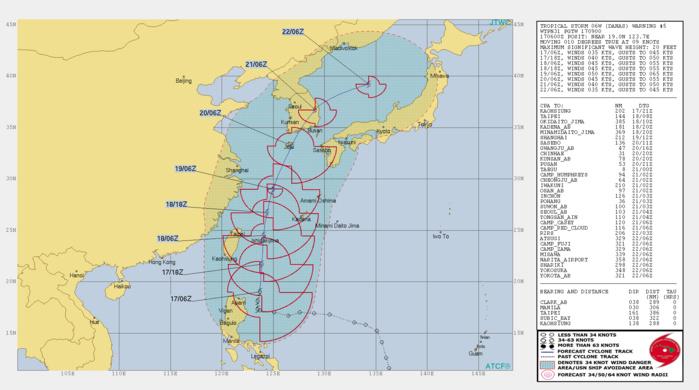 DANAS(06W): WARNING 6/JTWC. PEAK INTENSITY OF 50 KNOTS FORECAST IN 48H.
