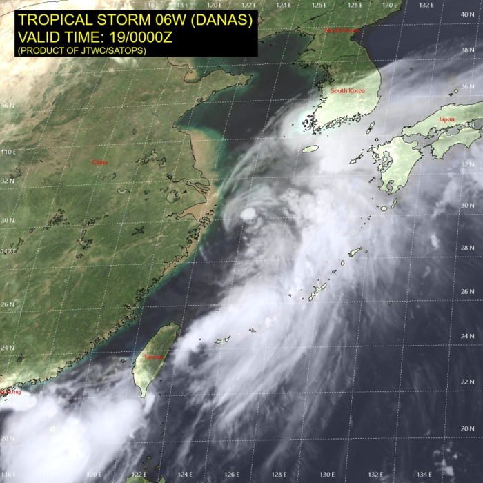 TS DANAS(06W) peak intensity within 12hours. Dissipation forecast over South Korea after 48hours