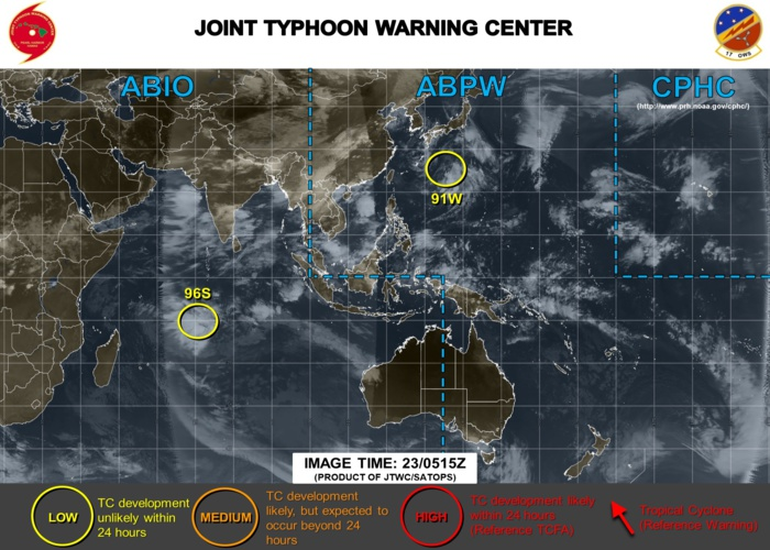 INVEST 91W and INVEST 96S under watch
