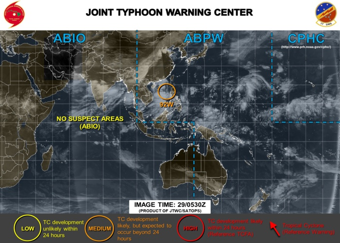 South China Sea: INVEST 92W expected to develop after 24hours