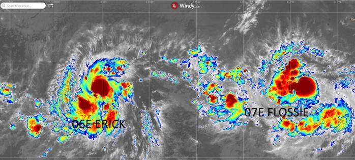 Sur la gauche la forte tempête tropicale ERICK(06E). 2300km plus à l'Est évolue la tempête tropicale modérée FLOSSIE(07E).