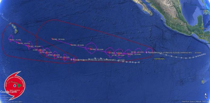 Epousant des trajectoires similaires selon les prévisions établies les deux systèmes se rapprocheront un peu l'un de l'autre d'ici 5 jours. Joint Typhoon Warning Center.