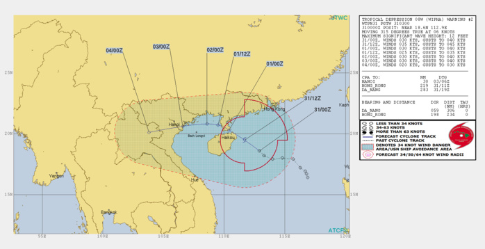 WARNING 12. PEAK INTENSITY OF 35KNOTS FORECAST WITHIN 12HOURS