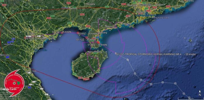 Prévisions de trajectoire et d'intensité pour la tempête émises par le Joint Typhoon Warning Center.