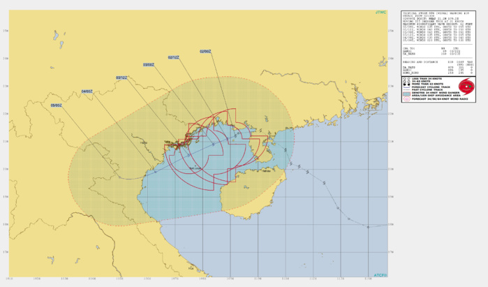 WIPHA(08W): WARNING 10. PEAK INTENSITY OF 40KNOTS FORECAST WITHIN 24HOURS.