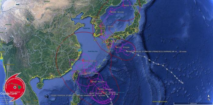 TS Francisco(09W) near Sasebo in 24hours. Lekima(10W) typhoon in 72h. 95W: now on the charts