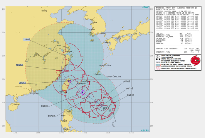 WARNING 9. LEKIMA(10W) IS ONCE AGAIN FORECAST TO REACH TYPHOON INTENSITY IN 48H.