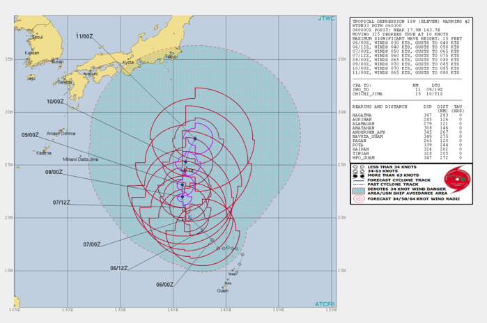 WARNING 2. 11W IS FORECAST TO REACH TYPHOON INTENSITY IN 48H