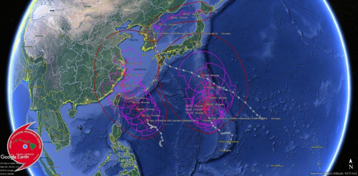 Lekima(10W) to reach category 3 before 48h,approaching northern Taiwan.09W,11W,96W,95B updates.