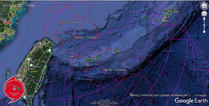 LEKIMA(10W): WARNING 17/JTWC. FORECAST PEAK INTENSITY WITHIN 12HOURS WHILE TRACKING OVER THE YAEYAMA ISLANDS