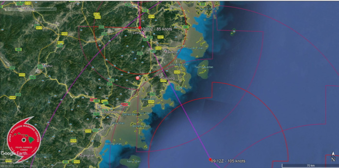 LEKIMA(10W): FORECAST LANDFALL JUST SOUTH OF TAIZHOU/CHINA IN LESS THAN 24HOURS AS A STRONG TYPHOON