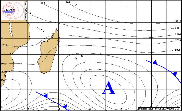 Analyse de surface ce matin. Une limite frontale peu active remonte graduellement vers nos régions. MTOTEC