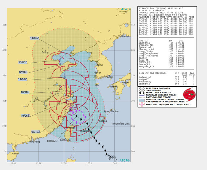 10W: WARNING 22: FORECAST TO TRACK CLOSE TO THE WEST OF SHANGHAI IN 24H BUT A MUCH WEAKENED INTENSITY