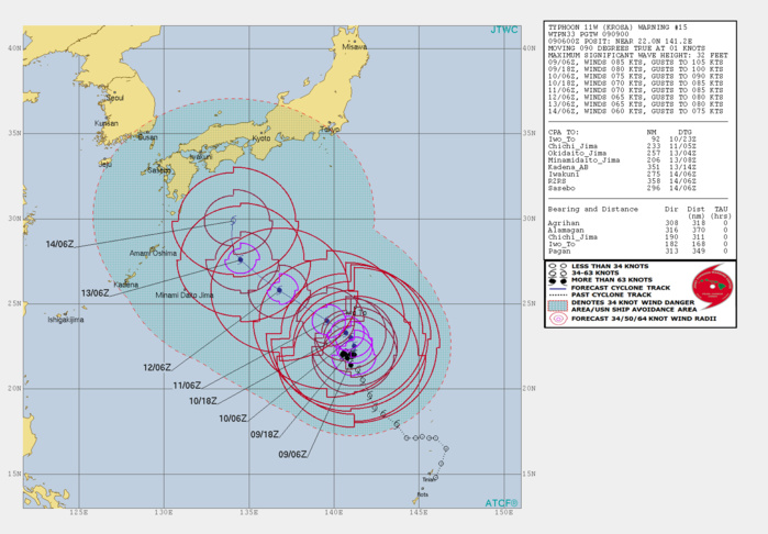 KROSA(11W): WARNING 15. FORECAST TO WEAKEN STEADILY NEXT 5 DAYS WHILE APPROACHING SOUTHERN JAPAN