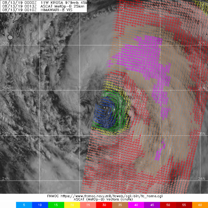 13/0013UTC. STRONG WINDS LOCATED AWAY FROM THE CENTER