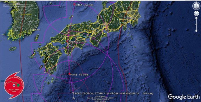 TS Krosa expected to cross Shikoku within 24hours maintaining a very large wind-field
