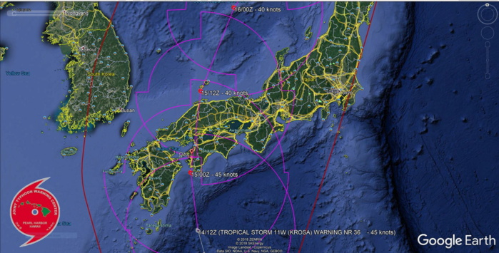TS Krosa is accelerating northward, expected over cooler Sea of Japan within 24h