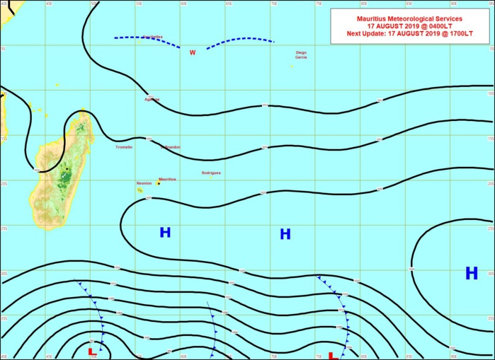 Les perturbations polaires circulant au Sud de 40°Sud générent de puissants trains de houle qui finissent par toucher les côtes des Mascareignes Dimanche et Lundi. MMS