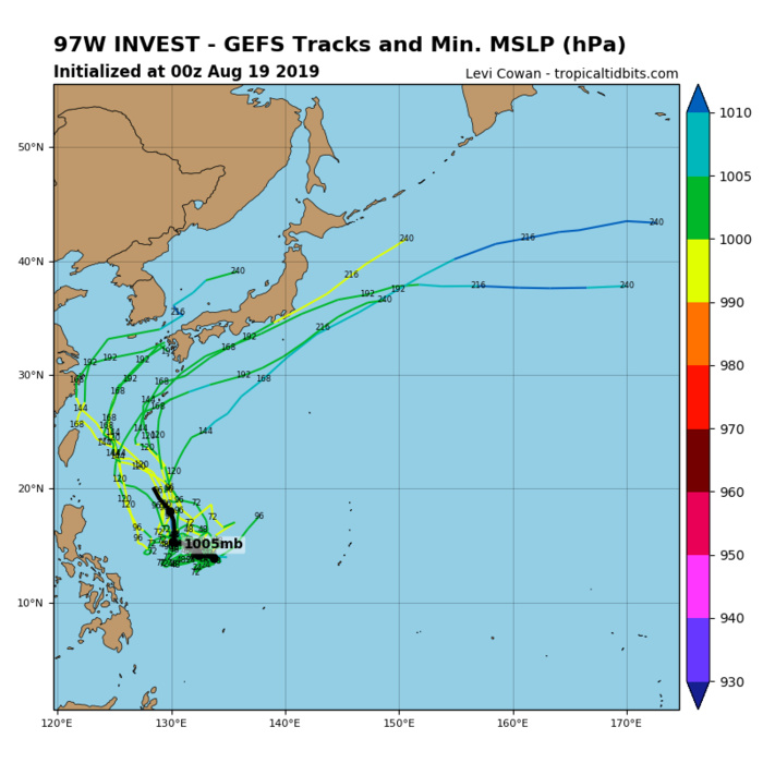 INVEST 97W: TRACK AND INTENSITY GUIDANCE