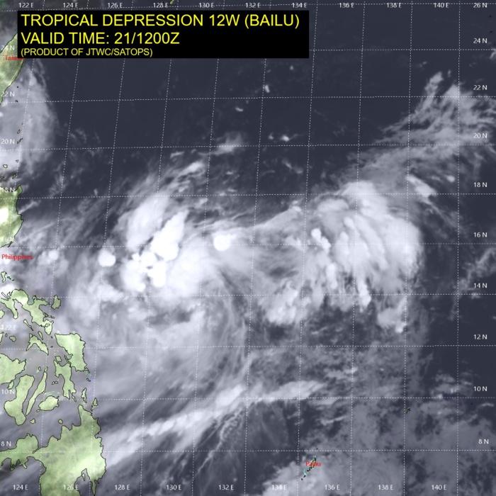 TD Bailu(12W) forecast to reach Typhoon intensity near Taiwan before 72h