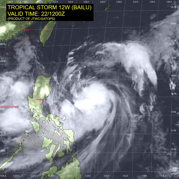 TS Bailu intensifying to Typhoon intensity within 24h, landfall over Taiwan shortly after 36h