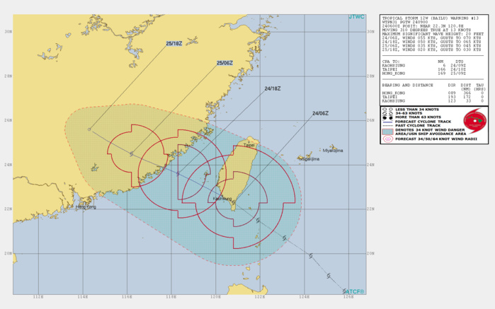 TS Bailu(12W) over southern Taiwan, landfall over China shortly after 12h