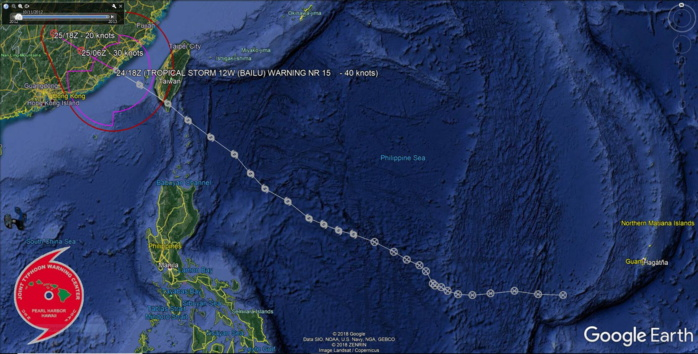 TS Bailu(12W) : Final Warning, Maximum intensity reached was 55knots. JMV file included