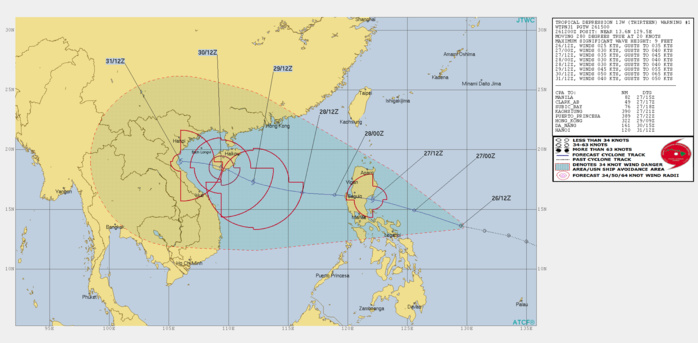Invest 99W now TD 13W, slowly consolidating and approaching Luzon