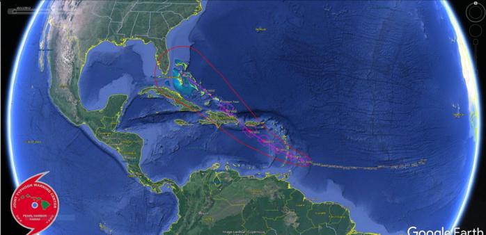 Plan plus large sur la trajectoire prévue. Après Puerto Rico et la République Dominicaine les Bahamas sont sur la trajectoire.