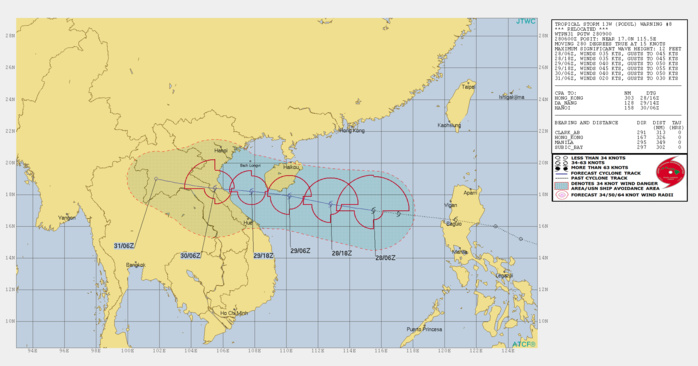 PODUL(13W) relocated, intensifying a bit over the South China Sea