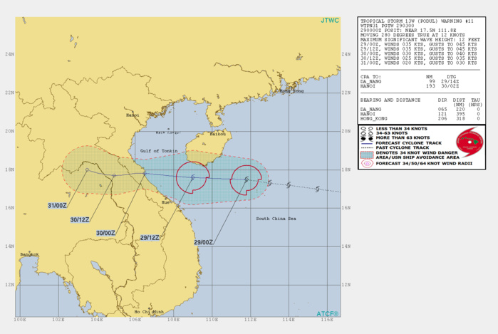PODUL(13W) tracking to the south of Hainan but has failed to intensify