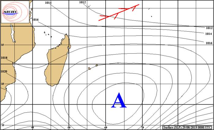 L'anticyclone de 1028hpa reste bien ancré au Sud Sud-Est des Iles Soeurs. MTOTEC