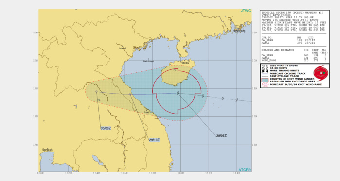 PODUL(13W) : landfall over eastern Vietnam in 12h, rapidly dissipating afterwards