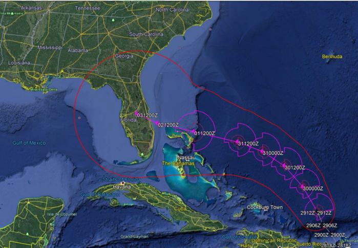 Bulletin de prévisions de trajectoire et d'intensité N21 établi à 16h/Mascareignes. US NAVY