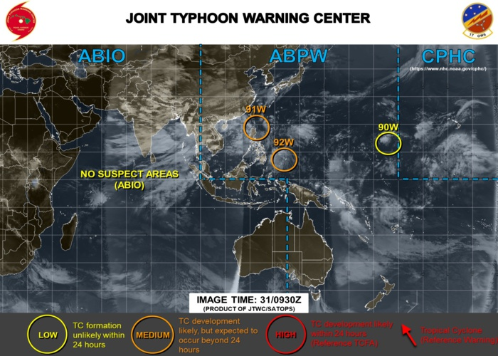 INVEST 91W and INVEST92W ARE BOTH MEDIUM