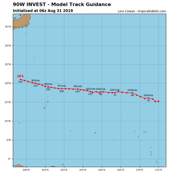 INVEST 90W: TRACK AND INTENSITY GUIDANCE