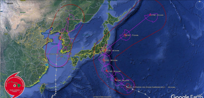 Lingling: landfall cat 1 over NKorea within 12hours. Faxai: cat 2 near Tokyo after 36h