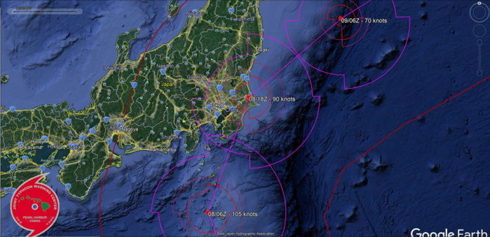 14W: close-up on the forecast near Tokyo in 24h.