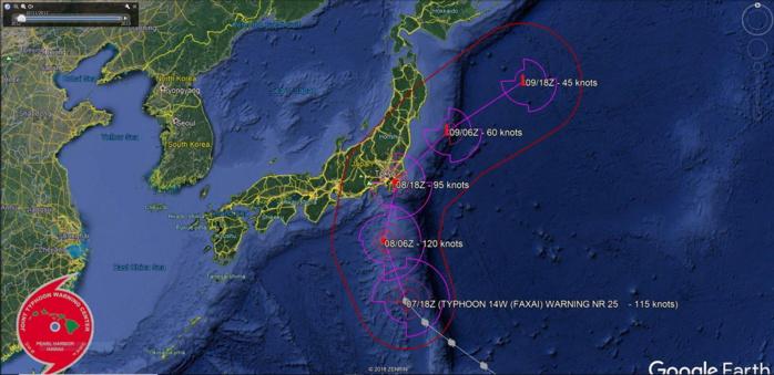 Typhoon Faxai: compact category 4, should weaken a bit before landfall/Honshu before 24h
