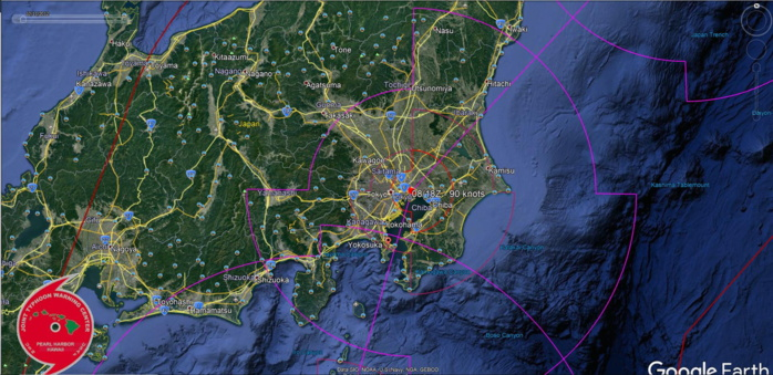 Typhoon Faxai should hit Yokosuka and Tokyo within 12h with top gusts over 200km/h close to center
