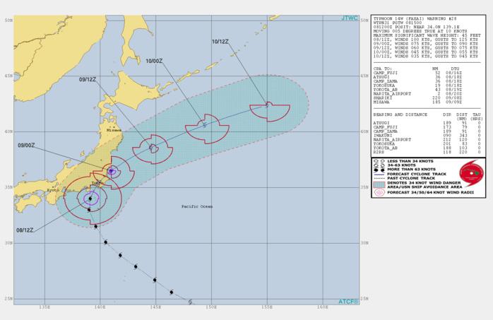 Typhoon Faxai bearing on Tokyo area. Kozushima reports a 224km/h gust