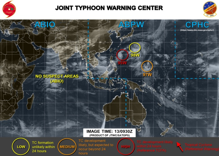 Invest 95W: Tropical Cyclone formation Alert.  97W: Medium