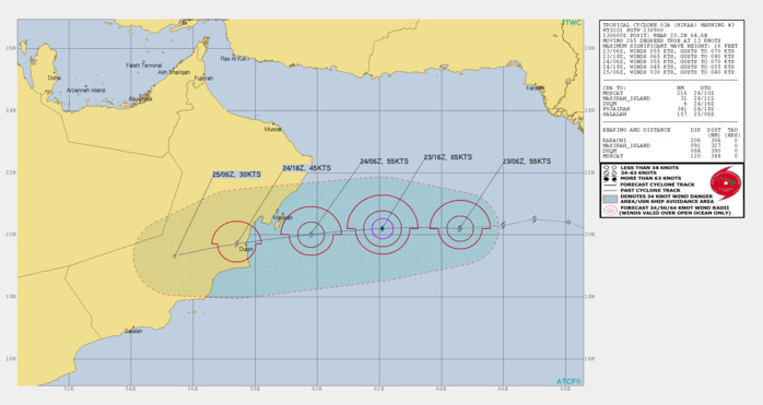 Tropical Cyclone Hikaa(03A) has been rapidly intensifying over the Arabian Sea