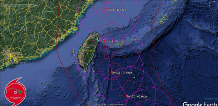 FORECAST TRACK EAST OF TAIWAN