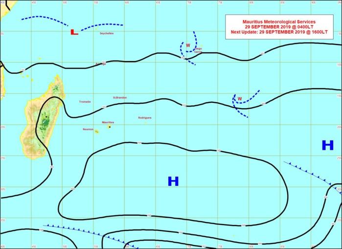L'anticyclone(H) un peu en retrait domine gentiment les débats sur notre région. Cela donne un temps sec avec un alizé très modéré. MMS