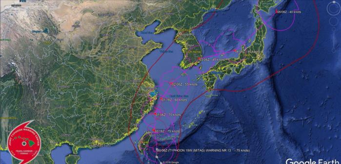 Typhoon Mitag(cat 1) is tracking between Eastern Taiwan and Ishigakijima