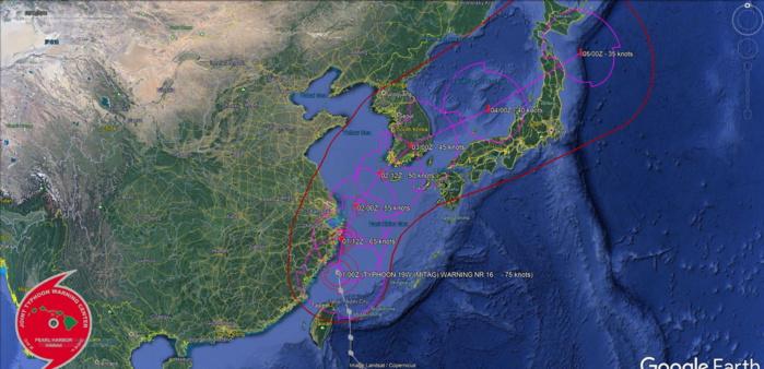 Typhoon Mitag(19W) has been rapidly losing organization