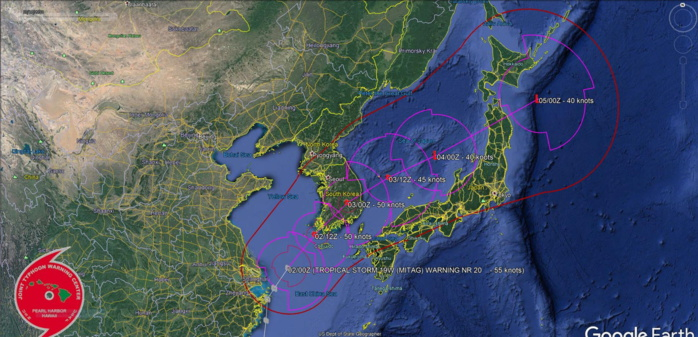 Tropical storm Mitag(19W): landfall over South Korea within 12hours